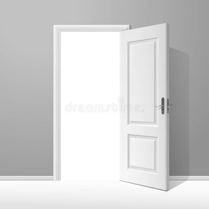 Öppen dörr för vektorvit med ramen vektor illustrationer