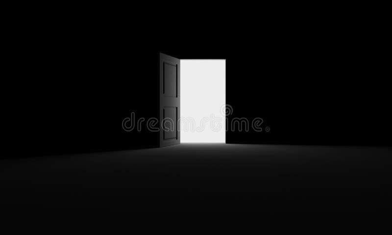 Öppen dörr in i mörkret arkivbild