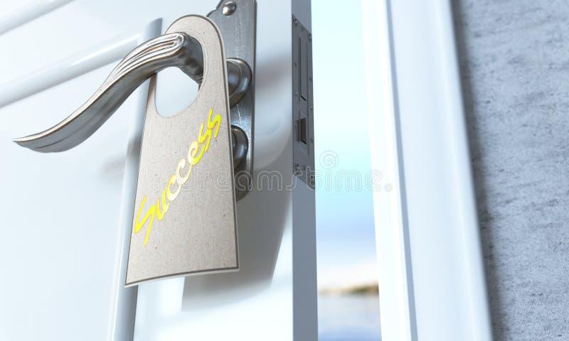 Öppen dörr med broshurereklambladframgång som lösningsbegrepp royaltyfri foto