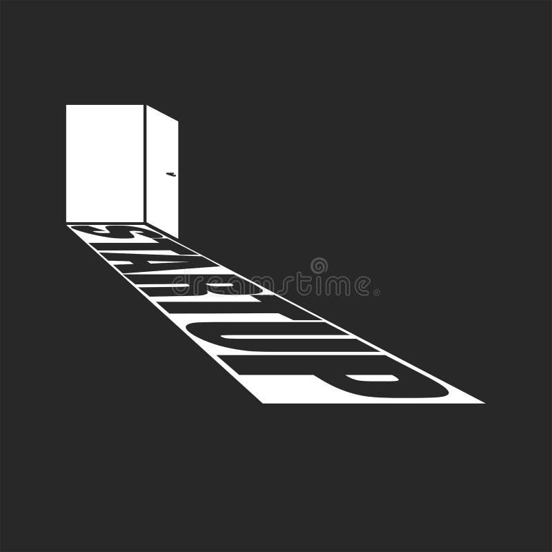 Öppen dörr med ljus- och starttext Affischbegrepp som skapar en ny affär som lanserar ett nytt projekt royaltyfri illustrationer