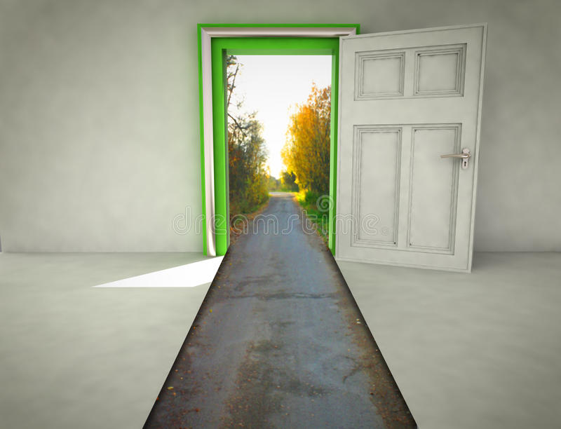 Öppen dörr med vägen långt till naturen stock illustrationer