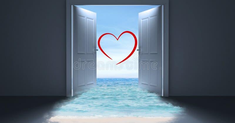 Öppen dörr till havet med hjärtaform royaltyfri fotografi