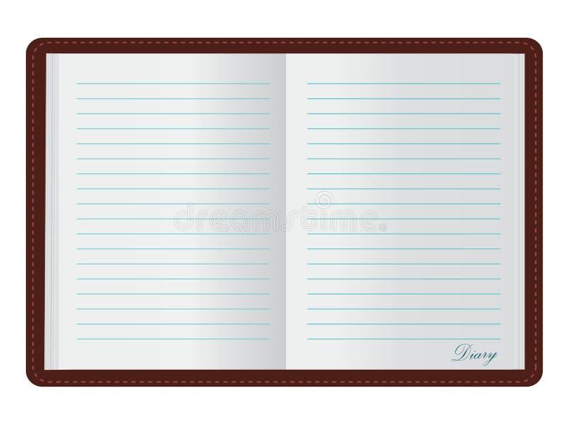 öppen dagbok stock illustrationer