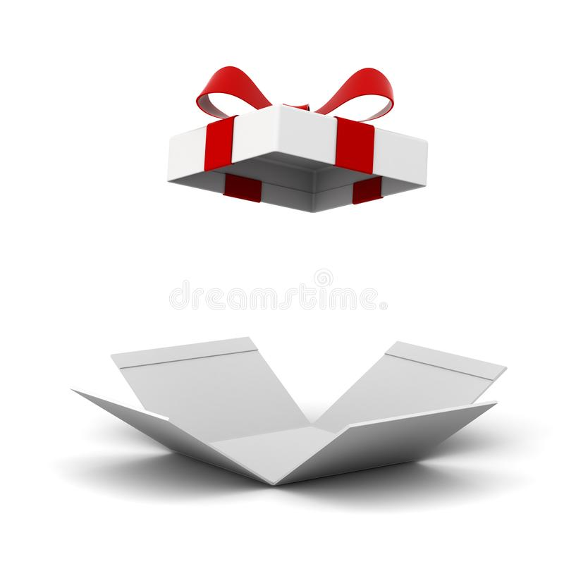 Öppen gåvaask, närvarande ask med den röda bandpilbågen som isoleras på vit bakgrund med skugga stock illustrationer