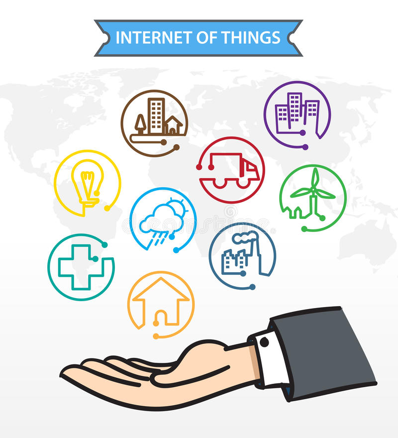 Öppen hand för affärsman med symbolen om internet av saker (IoT) vektor illustrationer