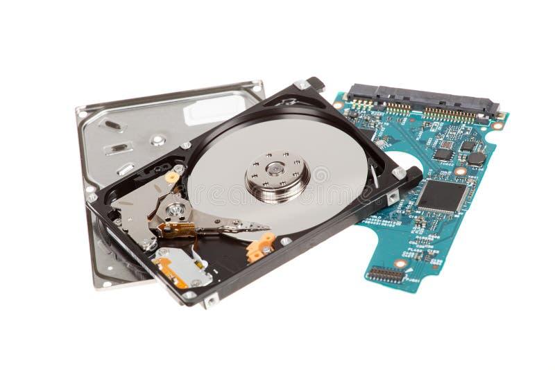 öppen hard för diskdrev HDD som isoleras på vit bakgrund arkivfoton