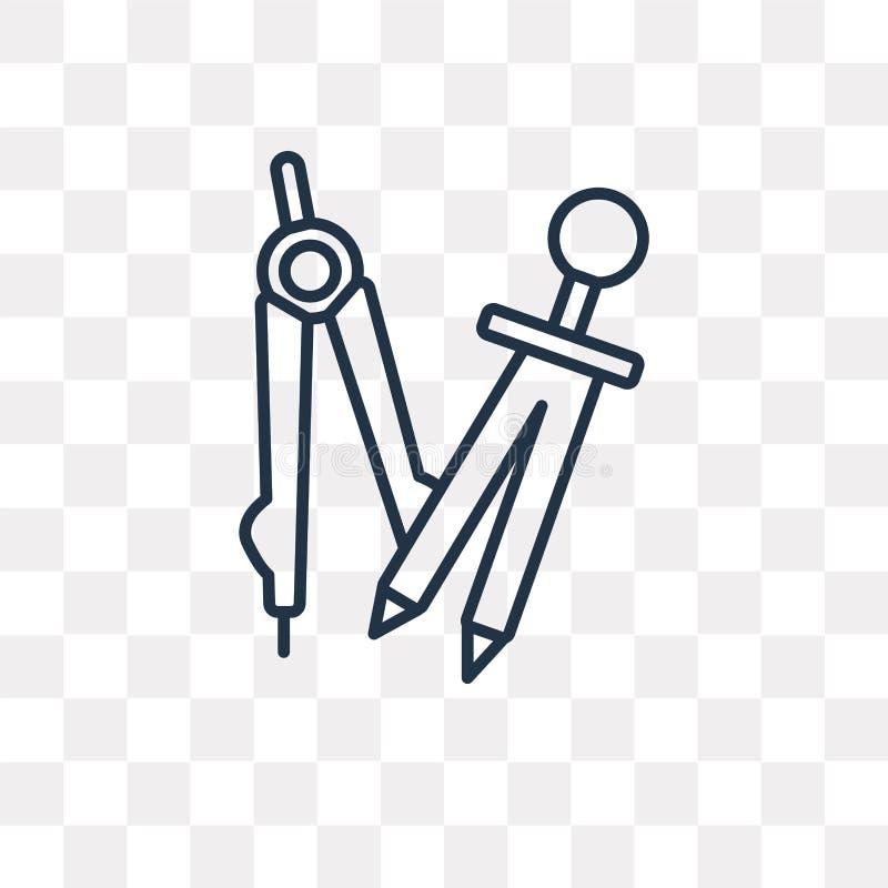 Öppen kompassvektorsymbol som isoleras på genomskinlig bakgrund, lin stock illustrationer