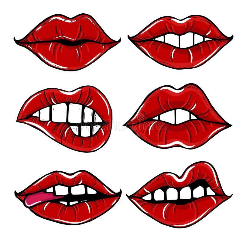 Öppen kvinnlig mun med röda kanter royaltyfri illustrationer