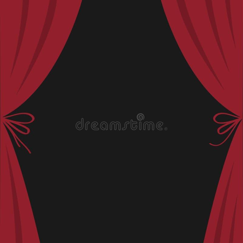Öppen lyxig röd siden- etappteatergardin Sammetscharlakansrött gardiner med pilbågen Plan design Filmbiopremiär mall _ stock illustrationer