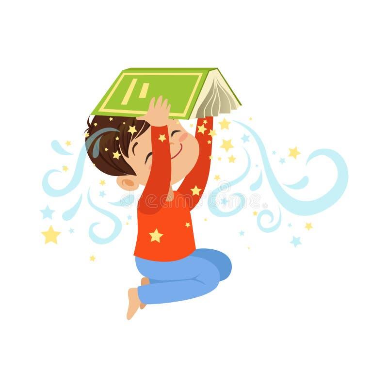 Öppen magisk bok för tecknad filmpysinnehav över hans huvud Gulligt ungetecken i plan stil Barnfantasi och vektor illustrationer