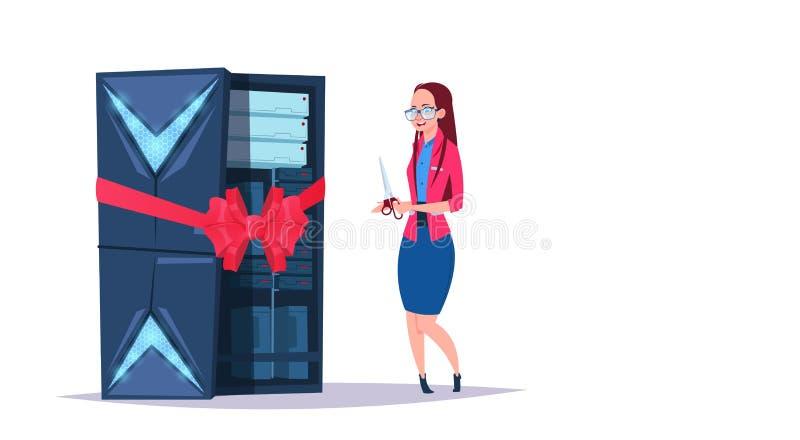 Öppen mitt för datalagring med varande värd serveror och personalen Ny datateknik, nätverk och databas, internetmitt stock illustrationer