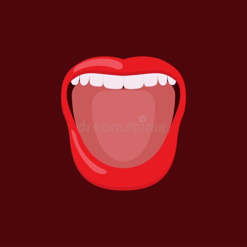 Öppen mun för kvinna med tänder och tungan stock illustrationer