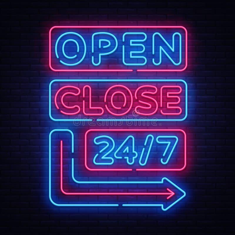 Öppen nära vektor för neontecken Neonskyltar planlägger mallen, det ljusa banret, nattskylten, nightly ljus annonsering royaltyfri illustrationer