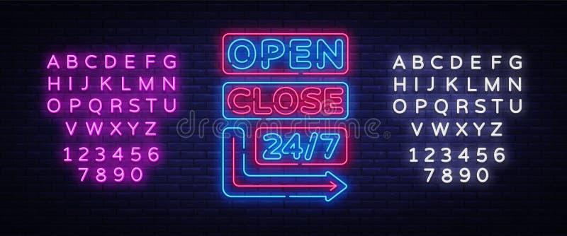 Öppen nära vektor för neontecken Neonskyltar planlägger mallen, det ljusa banret, nattskylten, nightly ljus annonsering stock illustrationer