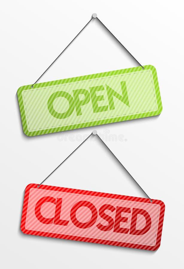Öppen och stängd etikett vektor illustrationer
