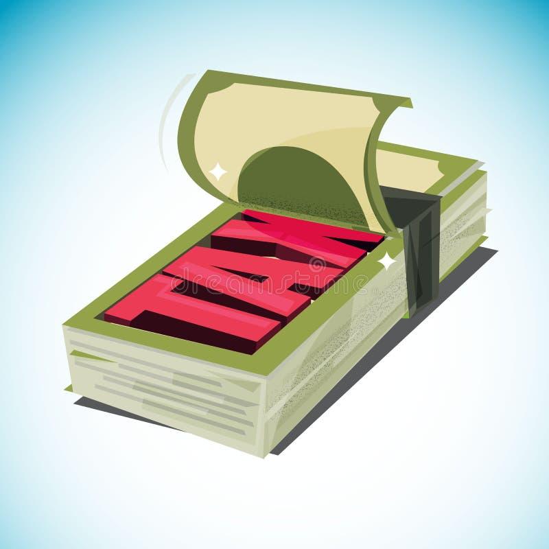 Öppen pengarbunt och inkomst och skatt för ` för skatt för showtext` Skatteåterbäring begrepp för skattbetalning - illustration vektor illustrationer