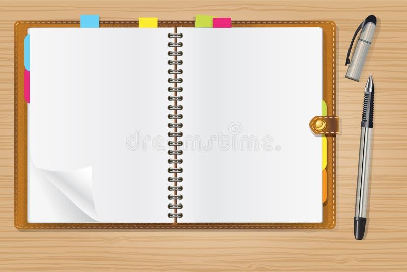 öppen penna för dagbok royaltyfri illustrationer