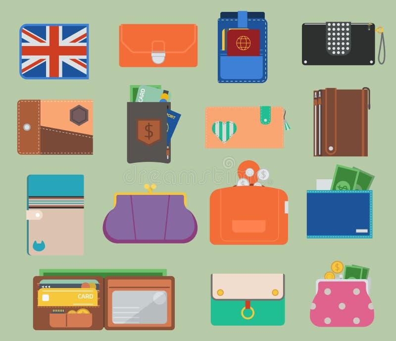 Öppen plånbok för handväskalädervektor med plånboken för handväska för läder för valuta för affär för ändring för pengarshoppingk vektor illustrationer