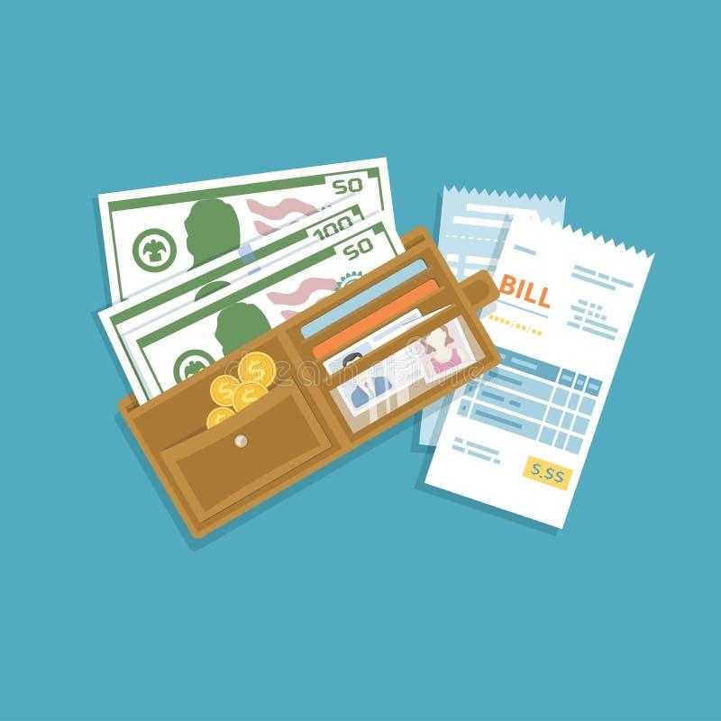 Öppen plånbok med kassapengar, guld- mynt, kreditkortar, räkningar Kontantbetalning för gods, service, hjälpmedel, restaurang Pla royaltyfri illustrationer