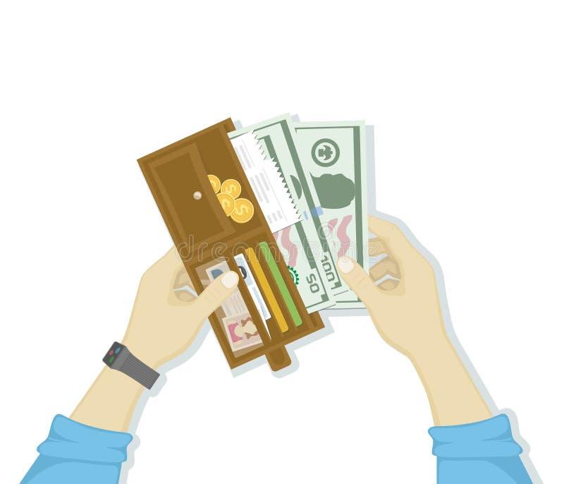 Öppen plånbok med kontanta pengar och kreditkortar, guld- mynt, kontroller, licens för chaufför` s i manhänder som isoleras på vi stock illustrationer