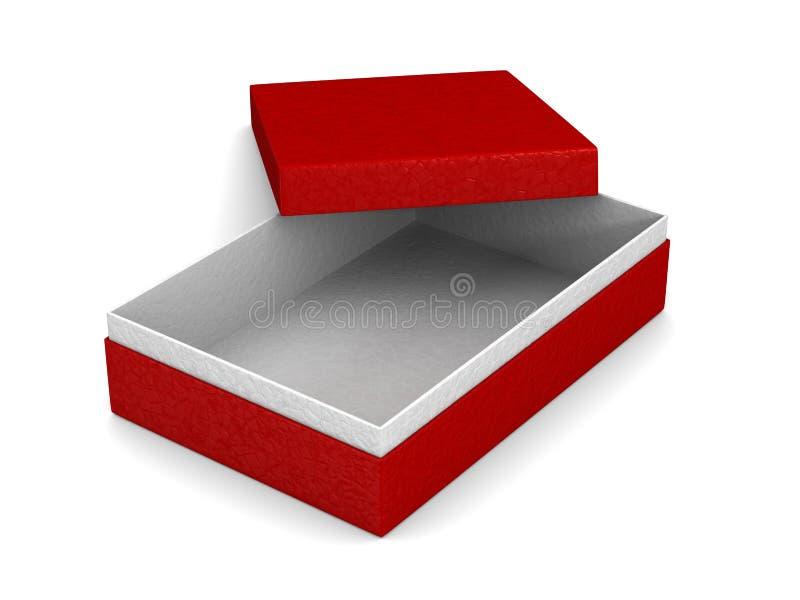 Öppen röd packeask på vit bakgrund Isolerad illustration 3d stock illustrationer