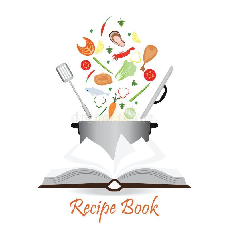 Öppen receptbok på vit vektor illustrationer