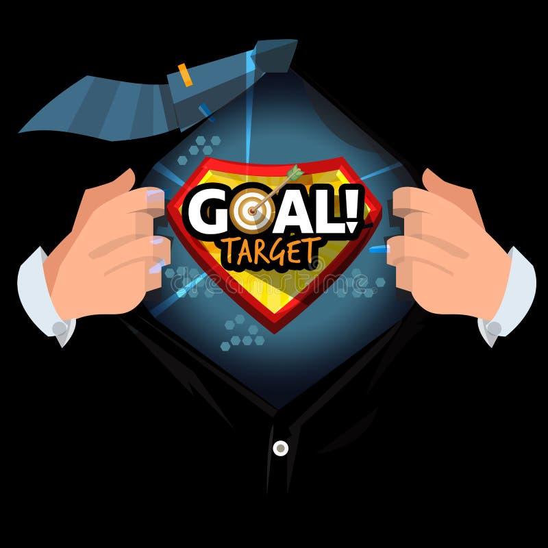 Öppen skjorta för man som visar 'den målmål'logotypen i tecknad filmstil liv- eller affärsmålbegrepp - vektor vektor illustrationer