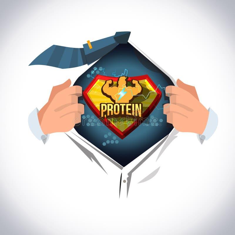 Öppen skjorta för man som visar 'den protein'logotypen i komisk stil starkt vid proteinbegreppet - vektor royaltyfri illustrationer