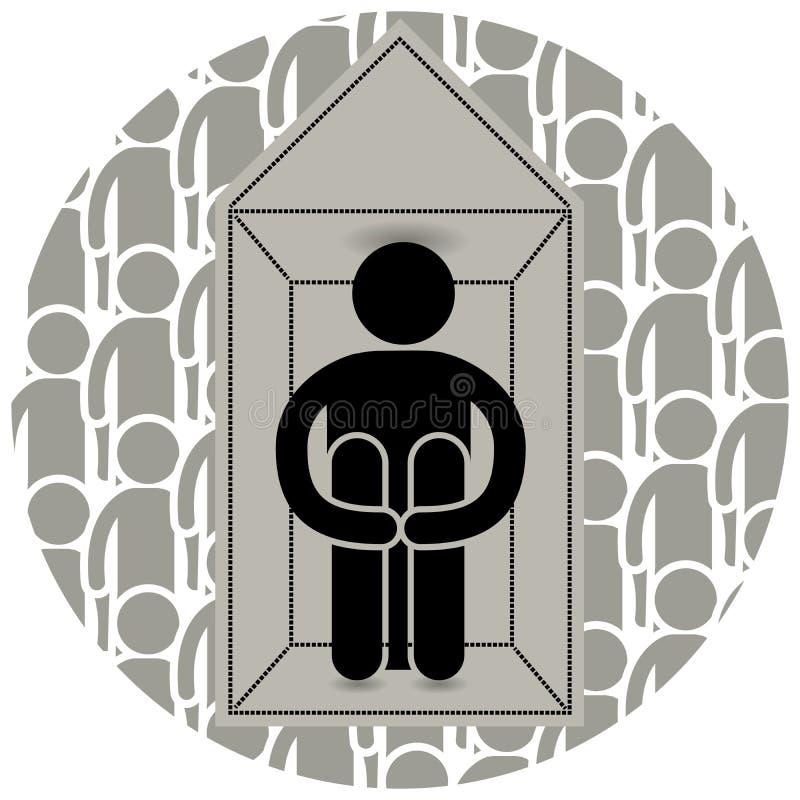 _ Öppen skräck av att skriva in eller fullsatta ställen Låste sig hemma Rätt att gå utanför m?nga folk ensamhet logo royaltyfri illustrationer