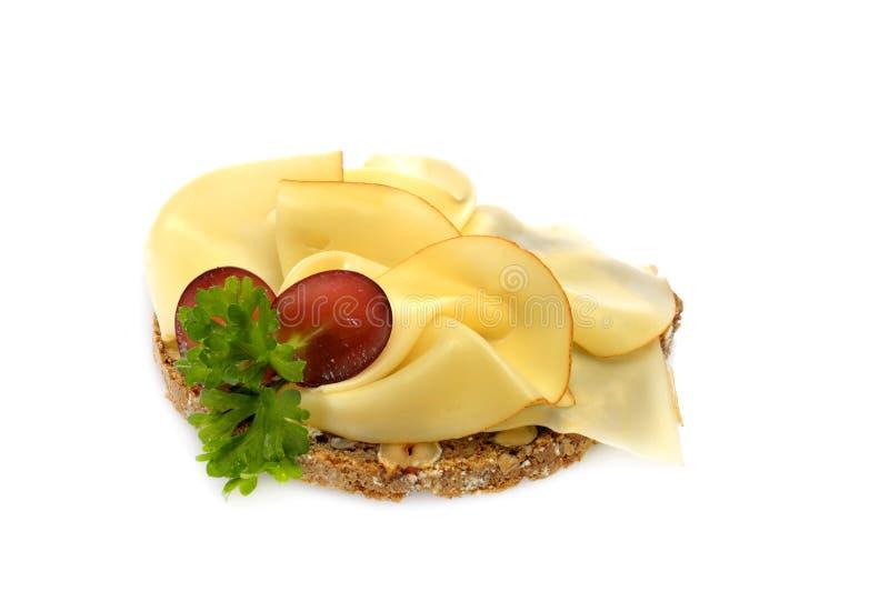 öppen smörgås för ostframsida royaltyfria foton