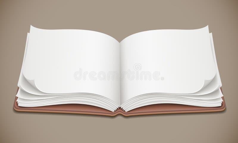 Öppen spridning för album med den tomma sidan vektor illustrationer