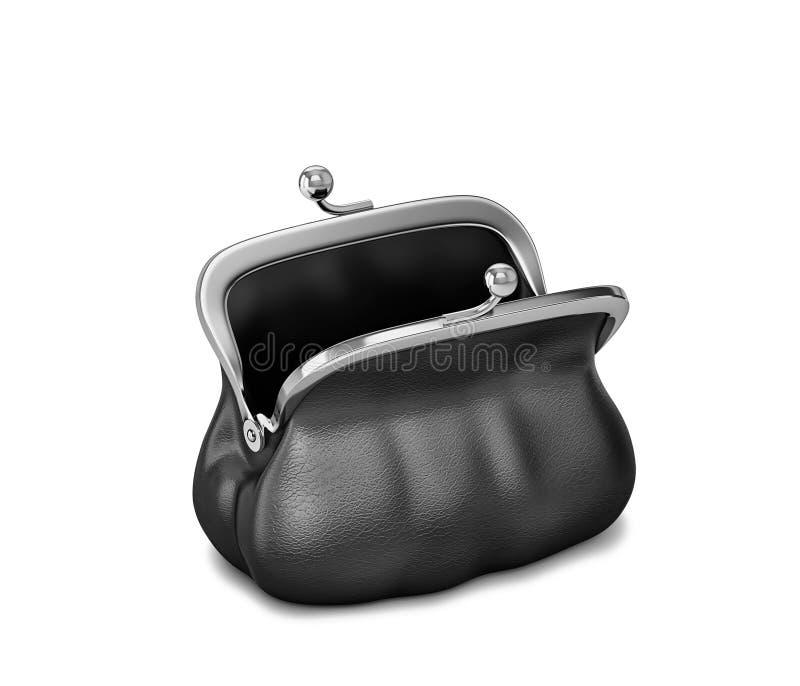Öppen svartläderhandväska, kvinnlig påse Inklusive snabb bana vektor illustrationer