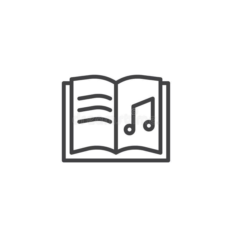 Öppen symbol för översikt för musikbok stock illustrationer