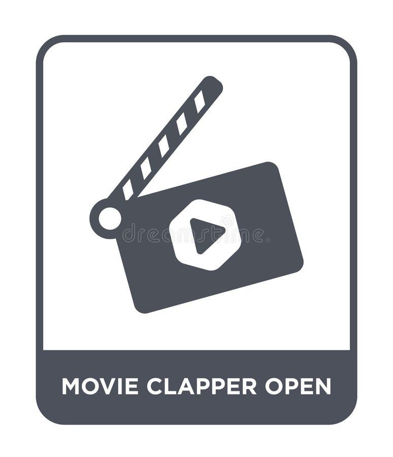 öppen symbol för filmclapper i moderiktig designstil öppen symbol för filmclapper som isoleras på vit bakgrund öppen vektor för f vektor illustrationer