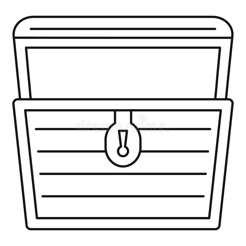 Öppen symbol för skattbröstkorg, översiktsstil stock illustrationer
