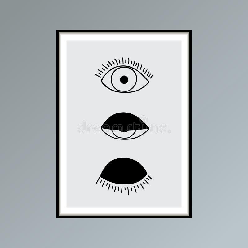 Öppen tecknad film, blinka och stängd ögonaffisch i skuggor av grå färger för inre dekor royaltyfri illustrationer