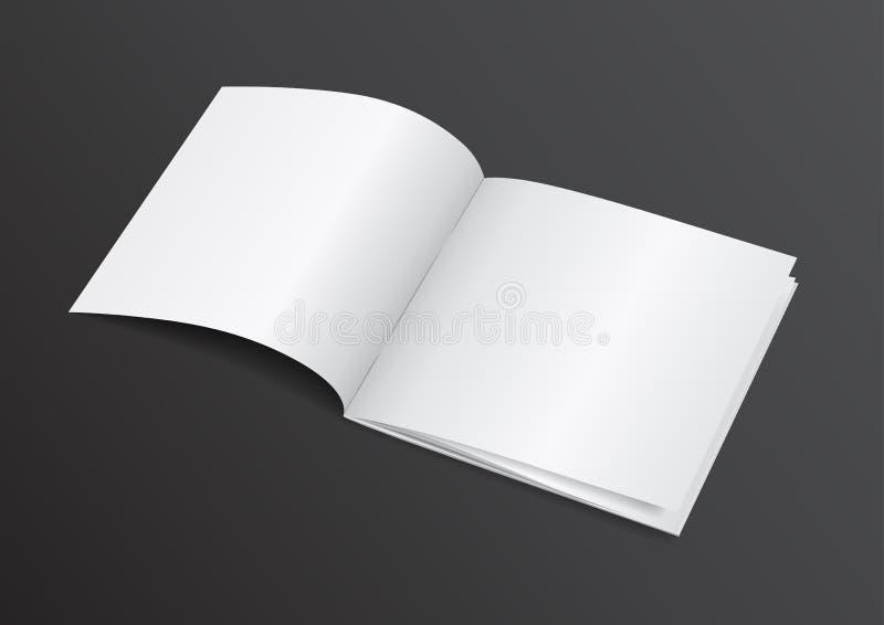 Öppen tidskrift för vitmellanrumsbroschyr för för åtlöje vektorn Illustra upp - vektor illustrationer
