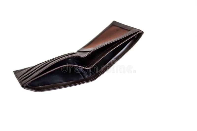 Öppen tom brun plånbok på vit bakgrund isolate royaltyfri bild