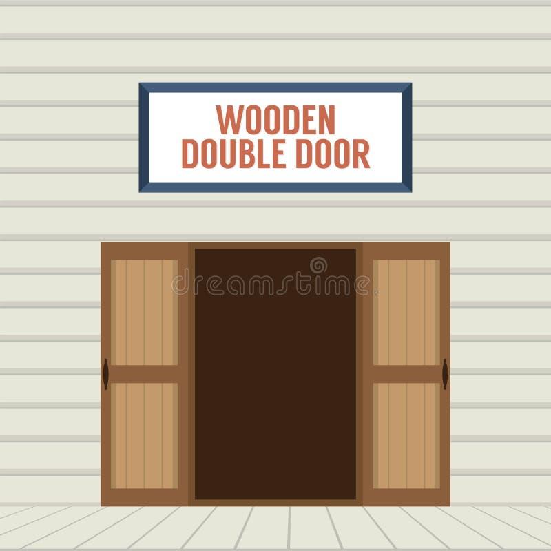 Öppen trädubbel dörr för plan design royaltyfri illustrationer
