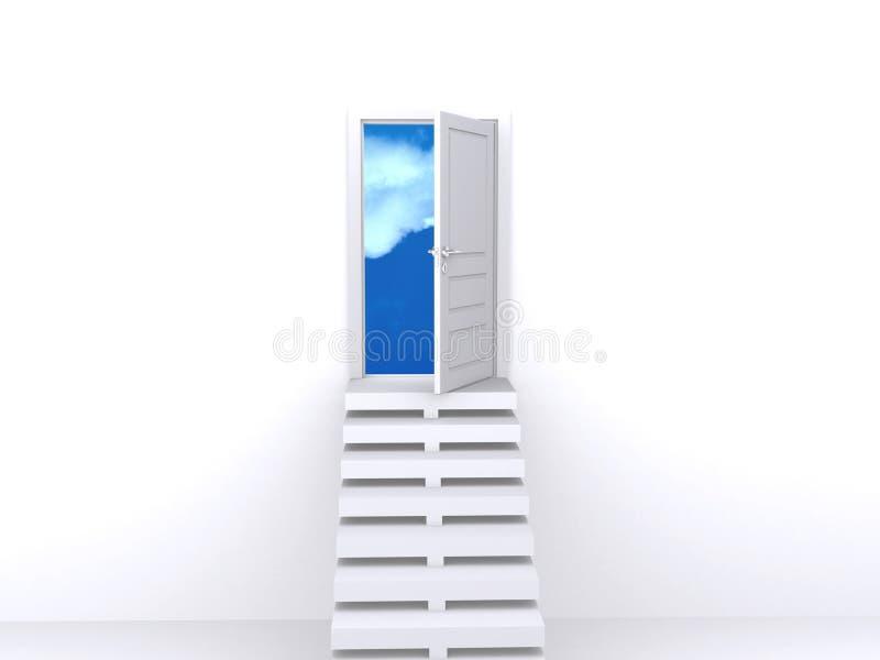 öppen trappa för dörr royaltyfri illustrationer