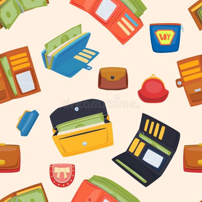 Öppen uppsättning för handväskaplånbokvektor stock illustrationer