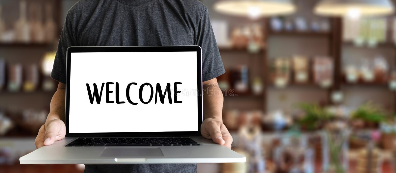 Öppen välkomnande för VÄLKOMMEN begreppskommunikationsaffär till laget royaltyfri bild