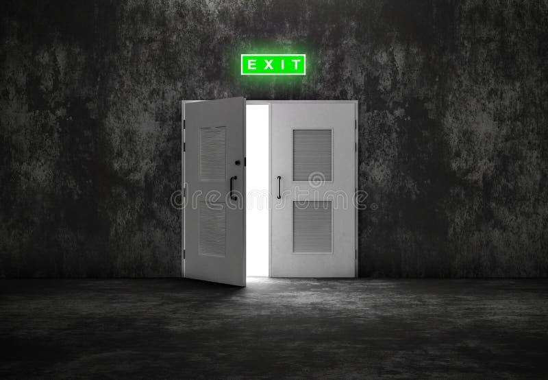 Öppen vit dörrutgång på grå bakgrund royaltyfri fotografi