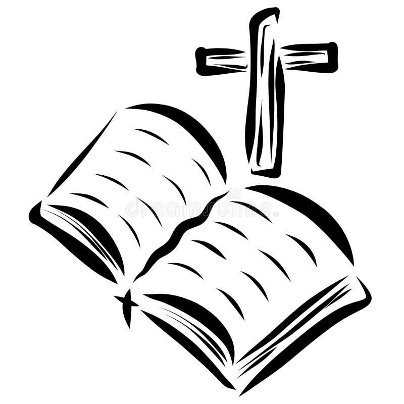 Öppet bibel och kors, kristendomen och tro royaltyfri illustrationer