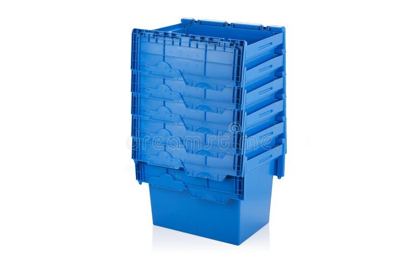 Öppet blått förpacka för plast- ask royaltyfri bild