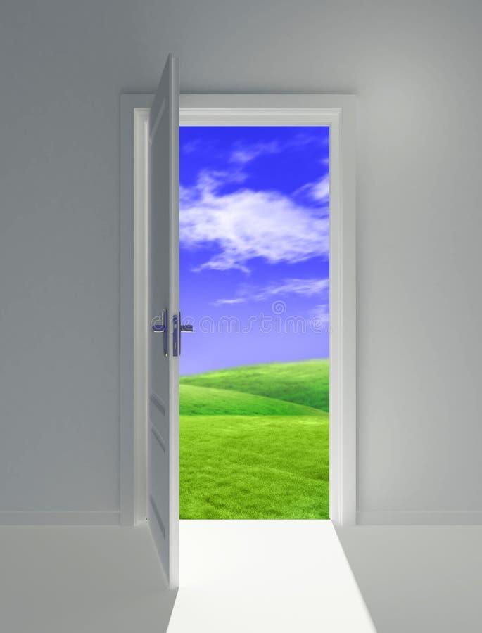 öppet dörrfält royaltyfri illustrationer