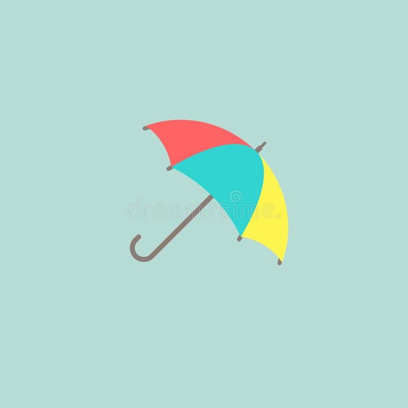 Öppet färgrikt roligt paraply Plan symbol som isoleras på pulverblått Plan design vektor illustrationer
