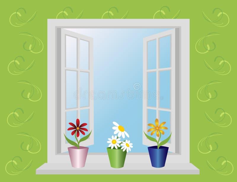 öppet fönster royaltyfri illustrationer