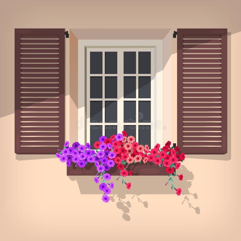 öppet fönster stock illustrationer