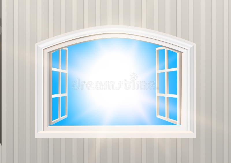 öppet fönster Ljussikt för blå himmel och sol Realistisk tapet för stil 3D isolerat stock illustrationer